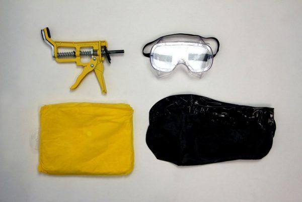 Shutgun water protection kit comes with Shutgun, Googles, Rain Coat, and boot covers
