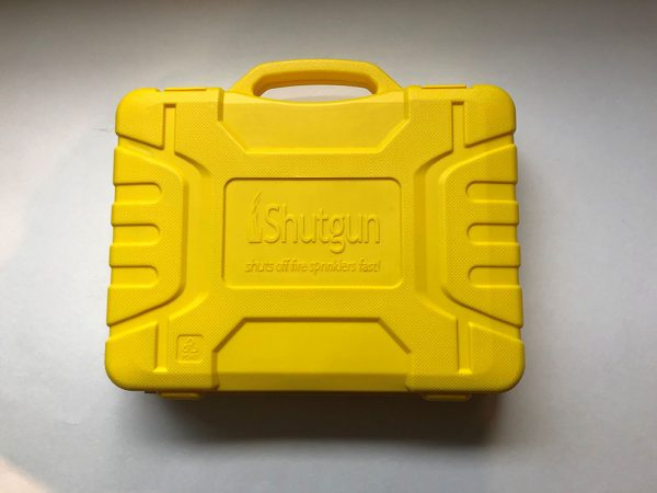 Closed and empty Shutgun case for organizing the Shutgun and fire sprinkler shutoff tool accessories