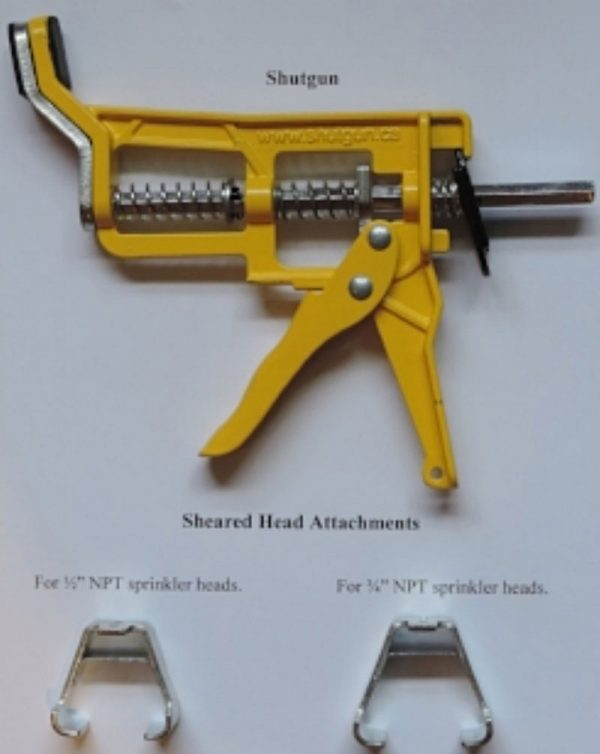 Shutgun sheared head attachments for Shutgun sprinkler stopper tool