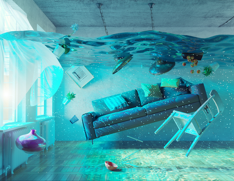 a picture of an apartment depicting it;s furnishing being underwater
